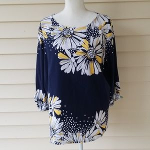 Navy and Yellow Alfred Dunner sunflower shirt L